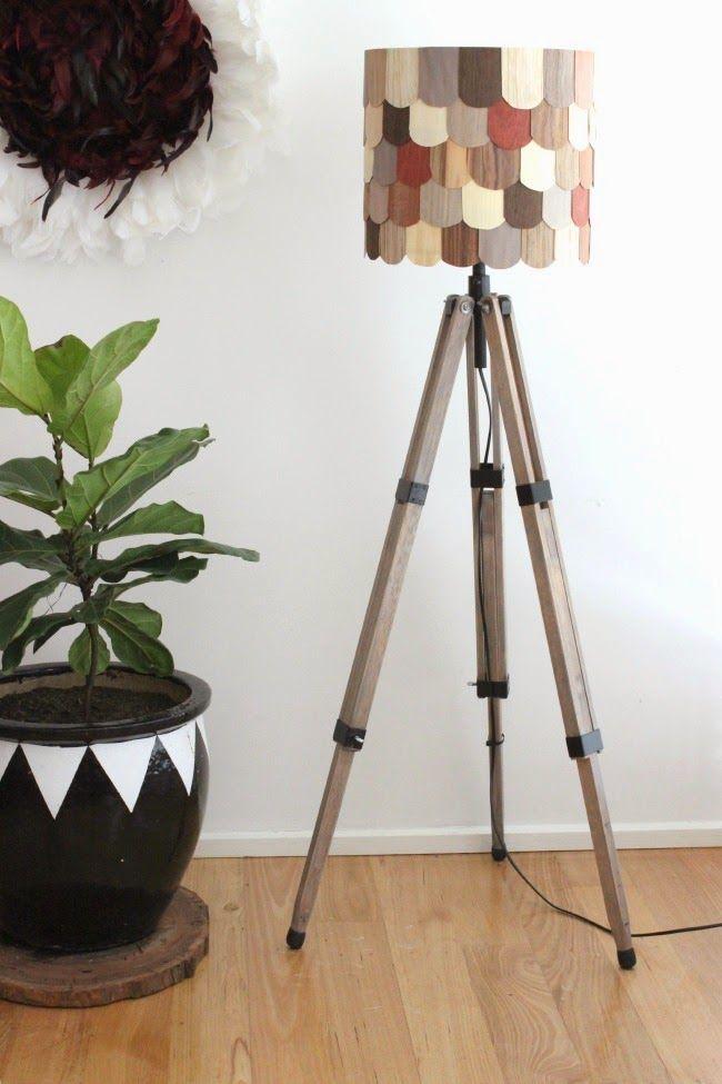 Tina's Lamp - stunning! #DIY tripod lamp and lampshade tutorial #tripodlamp #woodveneer #FeastWatson #upcycle @vintagemovement #relove