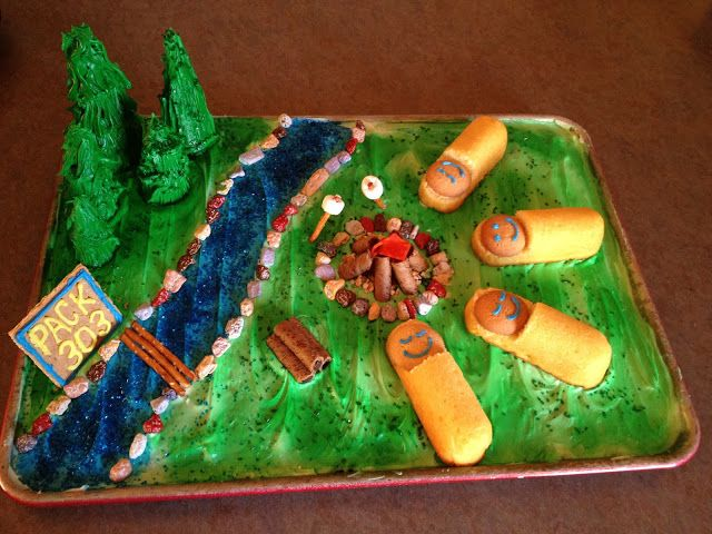 Cake for the Cub Scout Blue and Gold banquet: I love the twinkee sleeping bags.