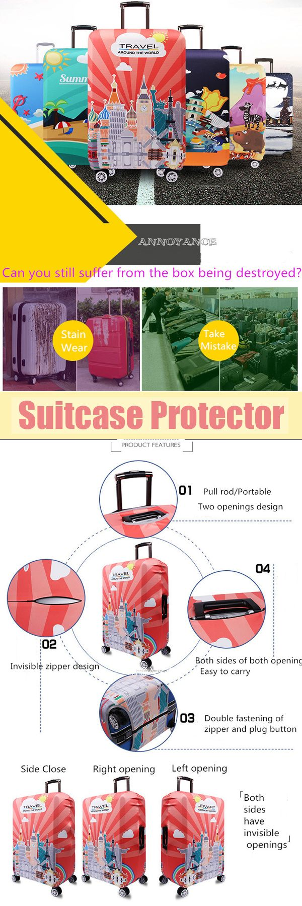 US$12.88 Thickening Travel Luggage Cover Elastic Spandex Suitcase Cover Durable Suitcase Protector#newchic#storagebag#housekeeping