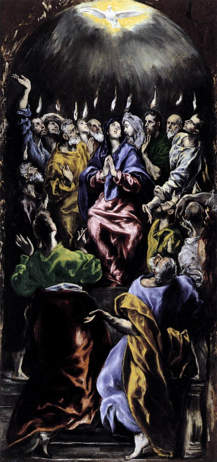 Pentecost by El Greco...  I've been looking at these old painting of the day of Pentecost and I don't imagine it anything like this... AT ALL! Makes me wonder if they even read the book of Acts.