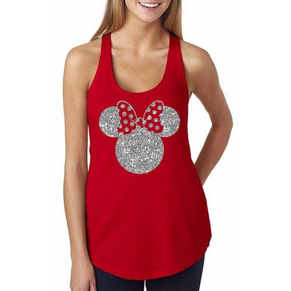Glitter Disney Minnie Mouse Shirt // Minnie Ears by HimAndGem