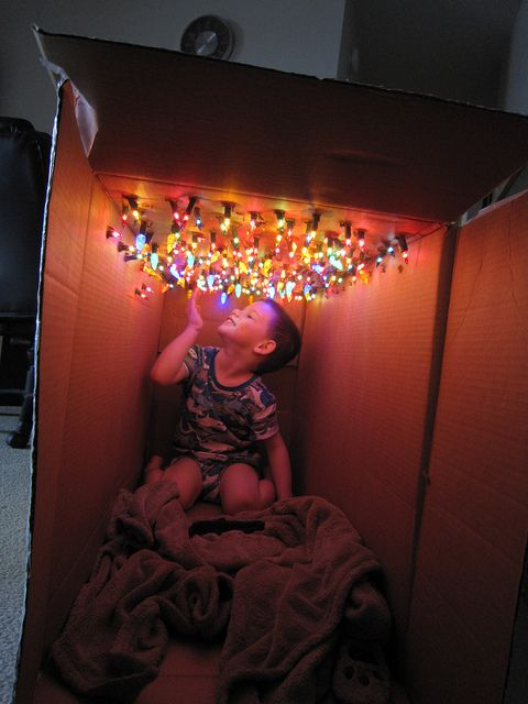 Come Christmas time stick all the bulbs from a string of lights inside of a cardboard box. Instant form of entertainment for a child!