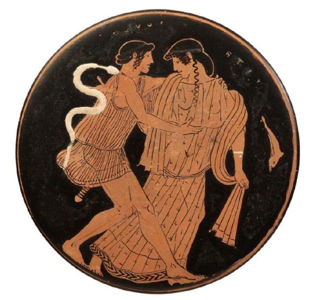 Ερυθρόμορφο πηνίο του Ζωγράφου του Πιστοξένου. Ο Πηλέας καταδιώκει τη Θέτιδα. 465 π. Χ. Εθνικό Αρχαιολογικό Μουσείο, Αθήνα.