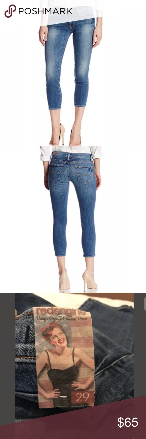 """NWT Red Engine Red Hot Skinny Crop Riviera Wash 29 Red Engine """"REDHOT Skinny Crop"""" Jeans NWT  Wash: Riviera / light-medium wash   Sz 29  Waist (flat): 15"""" Inseam: 25"""" Red Engine Jeans Ankle & Cropped"""