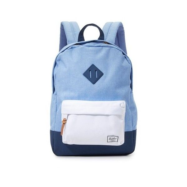 Herschel Supply Co. Heritage Petite Backpack ($50) ❤ liked on Polyvore featuring bags, backpacks, knapsack bag, herschel supply co backpack, rucksack bag, color block backpack and herschel supply co bag