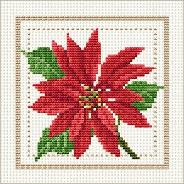 December - Poinsettia, Project 2010 - Flower of the Month, designed by Ellen Maurer-Stroh, from EMS Cross Stitch Design.