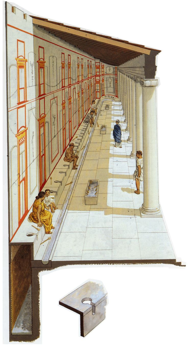 Peter Connolly illustration of a latrine in the Roman forum.