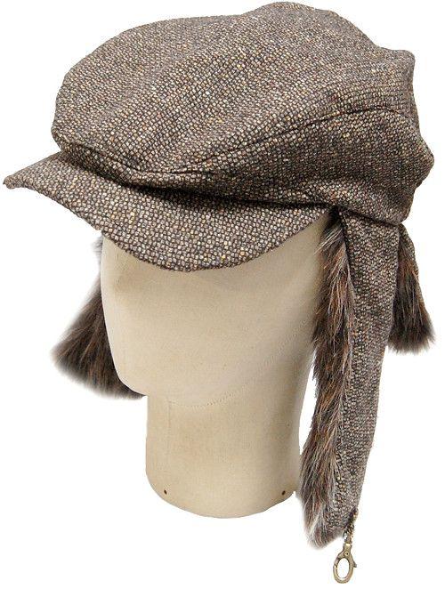 ハンチング耳あて付帽子メンズレディースファーフードブラウンろっぷいや~小さい大きいサイズ【楽ギフ_包装】
