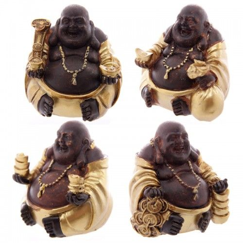 Decorative Chinese Buddha Figurine in Gold and Brown (BUD190) by www.goldengoosegifts.co.uk