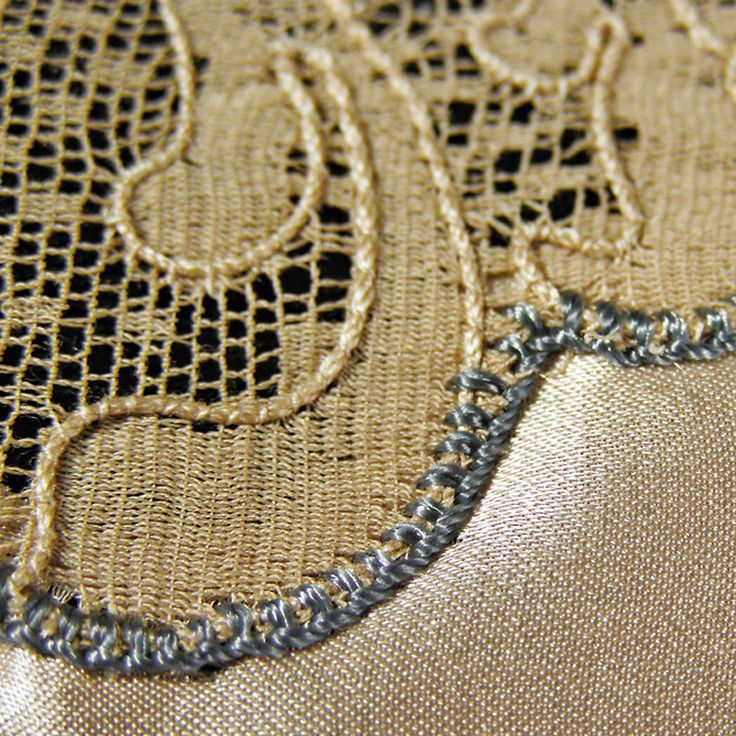 Tiny blanket stitch to appliqué lace