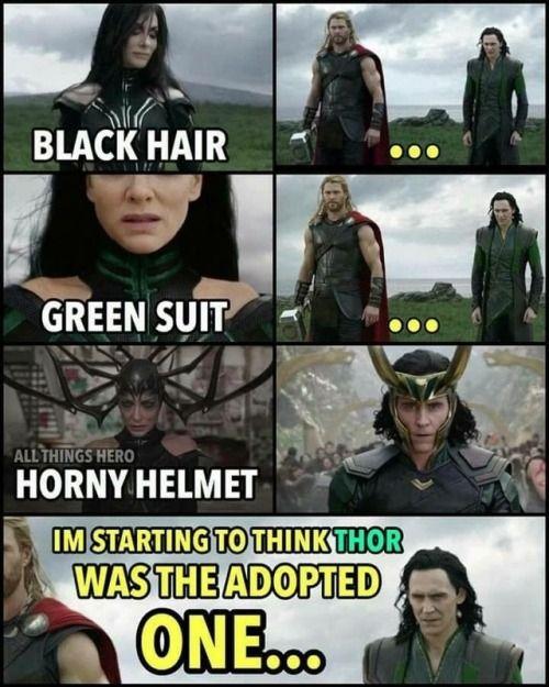 Hela, Black of hair. Loki, Black of hair. Thor, gold of hair. CSI: Asgard