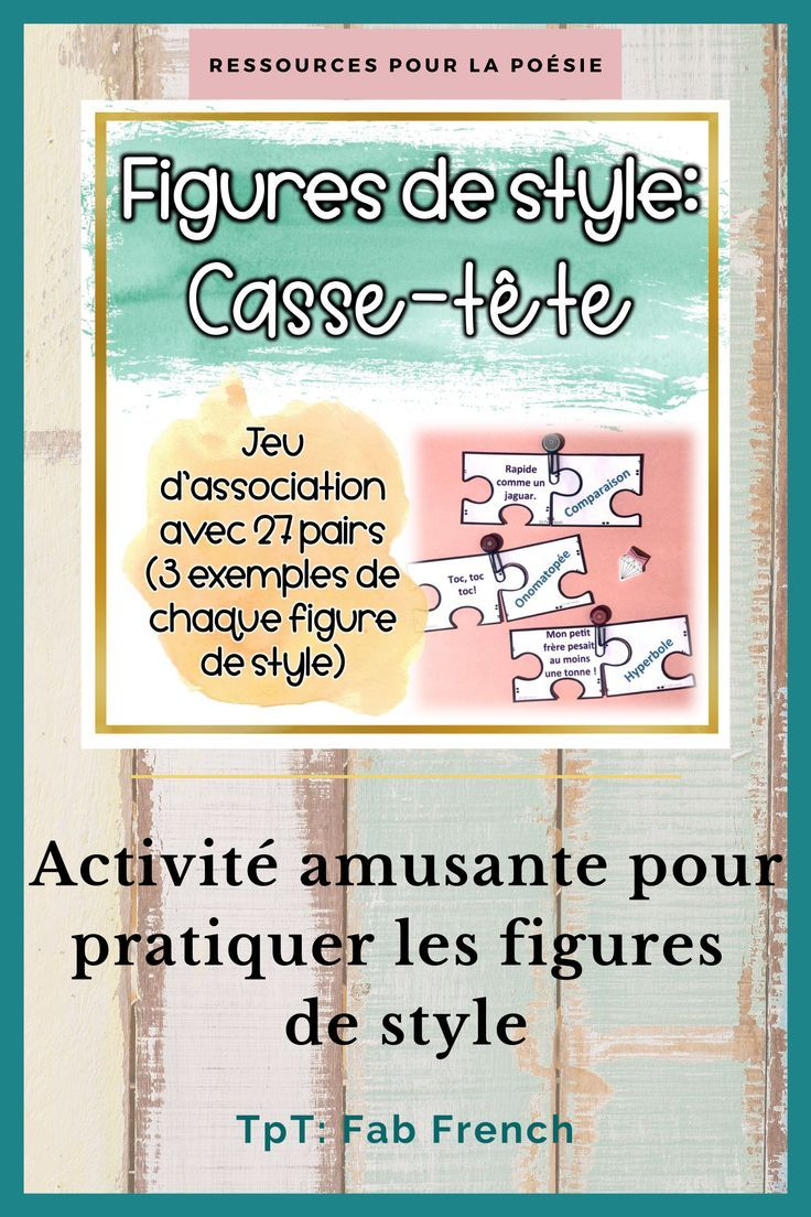 Parallélisme Figure De Style Exemple : parallélisme, figure, style, exemple, Figures, Style, Casse-Tête, French, Teaching, Activities,, French,, Immersion, Resources