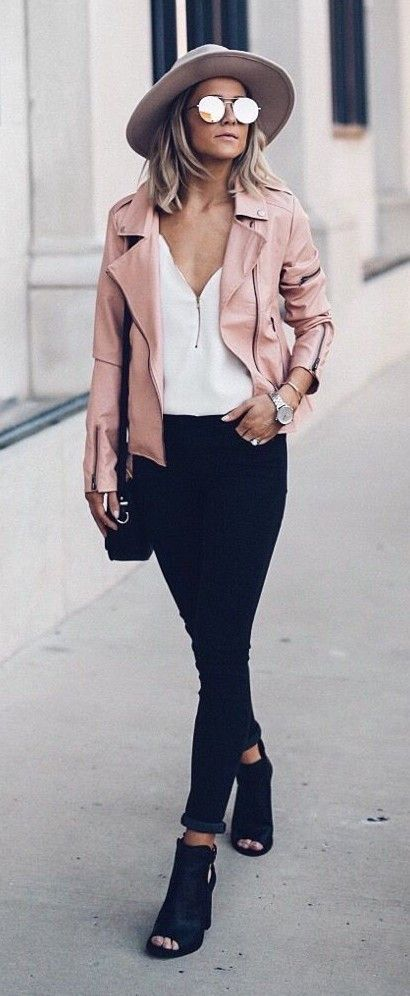spring fashion  Pink Leather Jacket & White Blouse & Black Skinny Jeans & Black Open Toe Booties