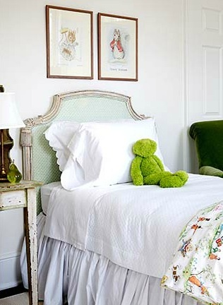 girl's rooms - seafoam green upholstered French twin bed green velvet chair vintage table nightstand Chic, sophisticated girl's bedroom with JCPennys