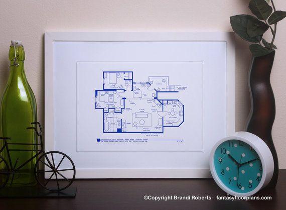 Three's Company TV Show Blueprint Poster  Floor by TVfloorplans