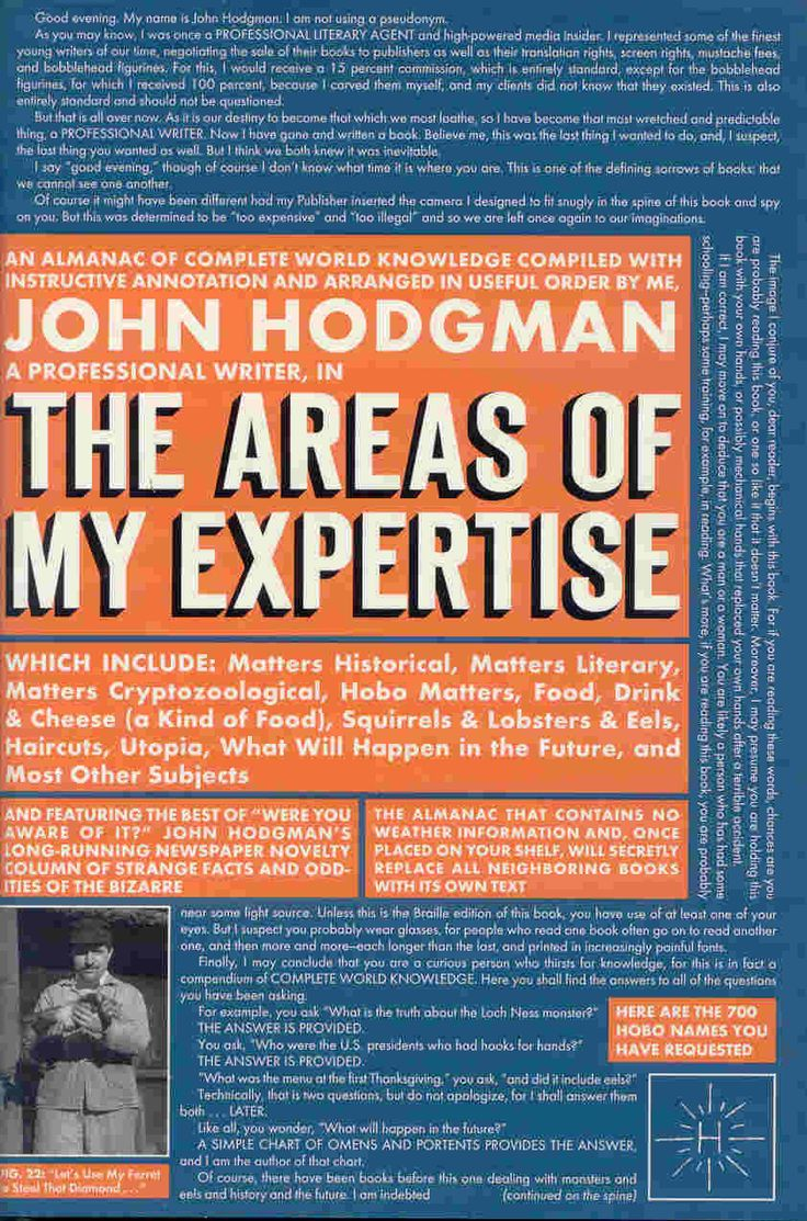 """The Areas of My Expertise by John Hodgman - """"A glorious, hilarious book of fake trivia and faux history perfect for anyone with a taste for dry, absurd, and intelligent humor"""" per Ryan Reviews"""