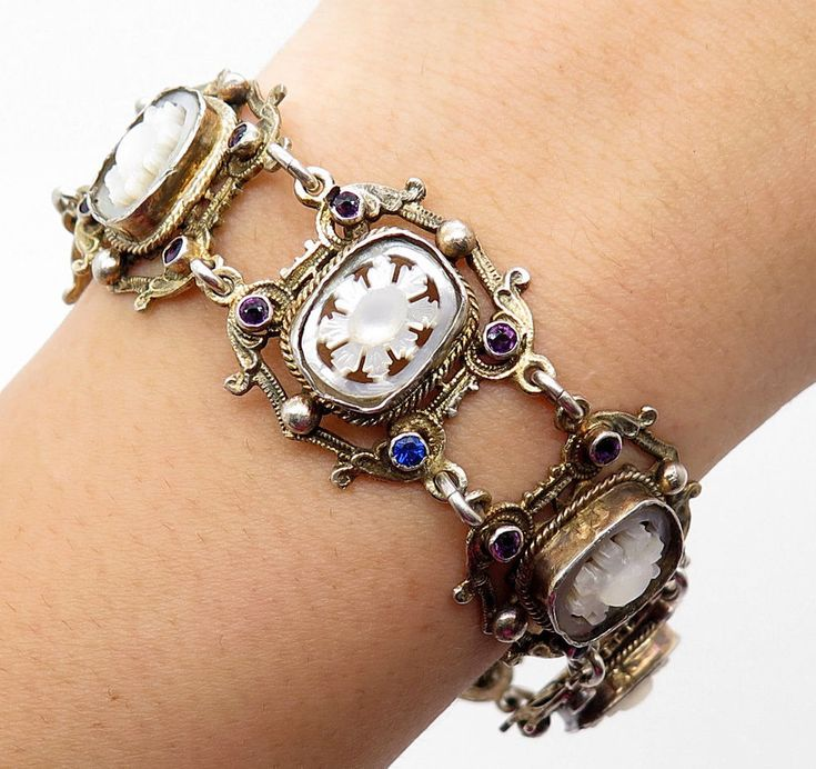 Signed Antique Victorian Austria 800 Silver Mother of Pearl Amethyst Bracelet  | eBay