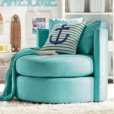 "Round-About Chair 39.25"" Diameter Faux Suede Pool - can fit one in lounge space - $599 (less 20% is $479.20)"