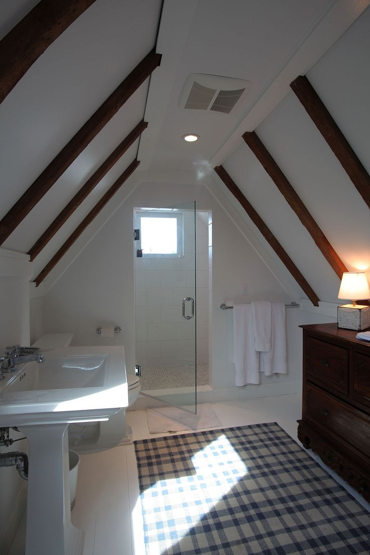 Custom Built Attic Bathroom With Light Color Scheme And Exposed Natural  Wood Ceiliing Joists. By. Cape Cod BathroomAttic BathroomNatural ...