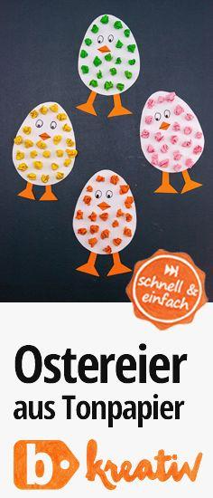 Einfache und niedliche #deko zu #ostern: #ostereier aus Tonpapier. #diy #basteln #bastelnmitkindern #bastelidee #büroshop24 #doityourself