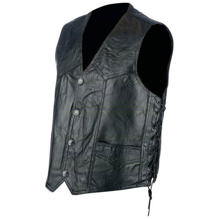 Rocky Ranch Hides™ Rock Design Genuine Hog Leather Biker Vest #RockyRanchHides
