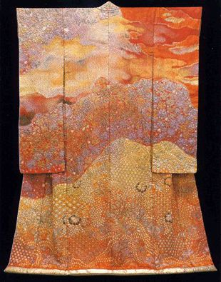 What is special about Itchiku Kubota's work? The colours are unbelieveable. He hand painted & dip-dyed over and over again to build up harmonies of incredible subtlety & richness. He revived an ancient shibori technique called tsujigahana and developed it using modern dyes and methods: nvolves brush painting the outline design onto the tacked together kimono and adding intricate sumi ink paintings, then stitching and binding miniscule portions of the silk, dyeing them by hand....