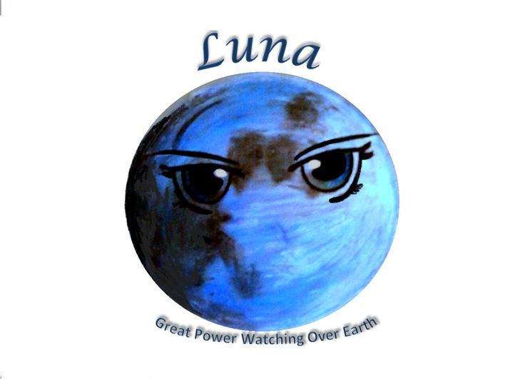 """By Jessika. """"I drew a moon w/a rich blueish tone I wanted. I always thought the insignia was produced in the begining of the moon's colonization so the signature was meant as a peaceful gesture considering how the moon revolved around the Earth (ie depended) But when the Lunars became more vicious towards Earthens they still held this sentiment but in a sinister light. Then later each narcisistic queen would add her own gaze to show her posession of the moon & Luna watching Earth from above"""""""