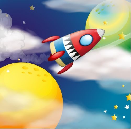 'Rocket To The Moon' canvas art print - a great way to add colour to a kids room. #WallArtPrints #Kids #Art #Rockets