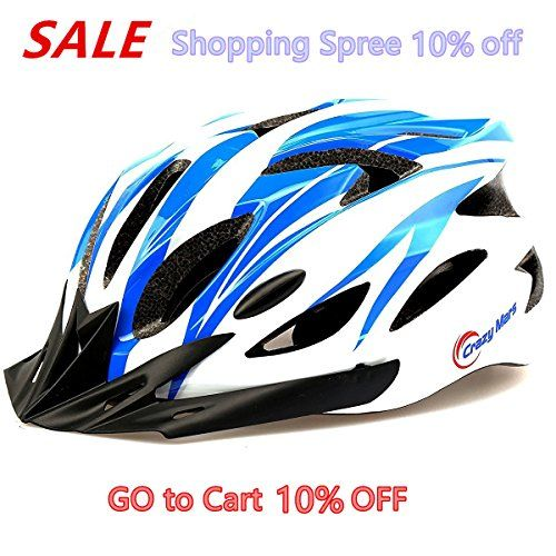 BMX Helmets - Crazy Mars Ultralight Mountain Bike Helmet  Blue  White *** You can find more details by visiting the image link.