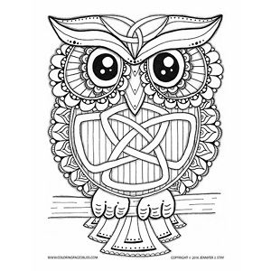 Coloring page for adults. Owl coloring page. This charming Celtic owl has a trinity Celtic knot worked into its brow with more Celtic knot work on its belly. This owl has so many fun details to fill with green and gold to celebrate St. Patrick's Day. Jennifer Stay hand draws hundreds of coloring pages to give everyone something fun to print and color.