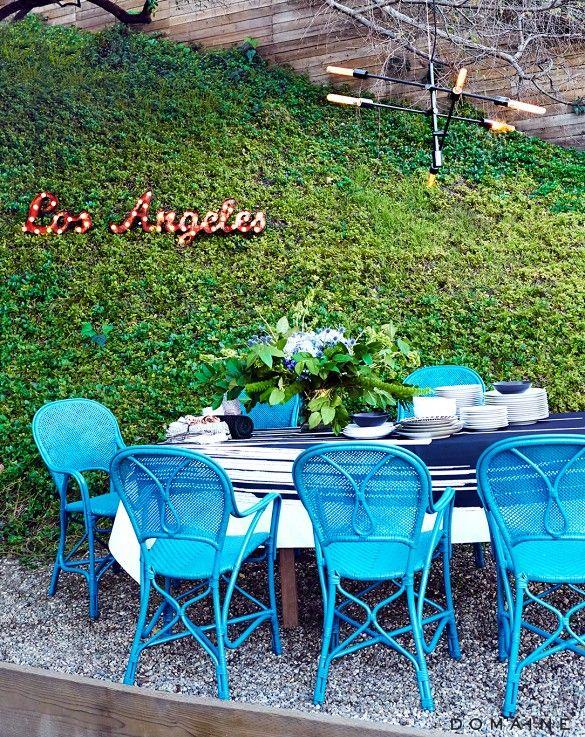 Ballard Design chairs spray-painted // Home Tour: Chiara Ferragni's Pop-Chic Los Angeles Home via @domainehome