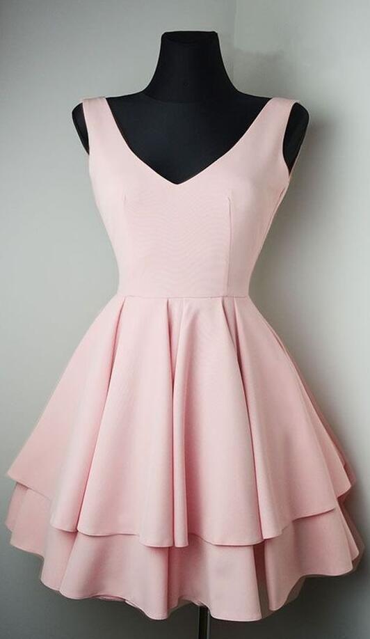 Pink Homecoming Dress, kurzes Abendkleid, Stain Prom Dress für Mädchen von She…