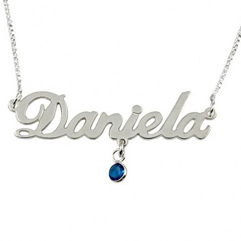 13019 - Sterling Silver Name Necklace with Heart Birthstone - $37.00