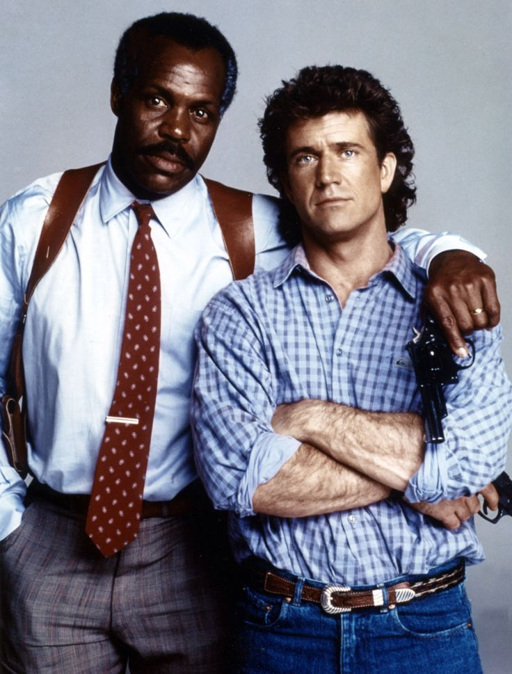 """Lethal Weapon 2"" promo still, 1989.  L to R: Danny Glover, Mel Gibson."