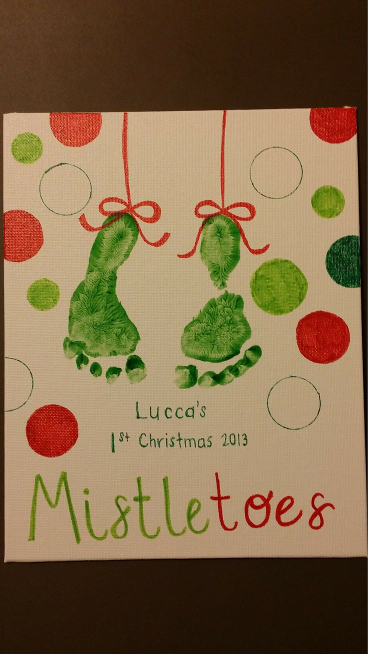 Footprint mistletoe holiday art - crayola finger paint, sharpies, circular objects to trace, and cute baby feet holiday craft