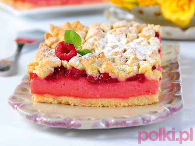 malinowe ciasto z budyniem przepis, przepis na malinowe ciasto, ciasto malinowe…