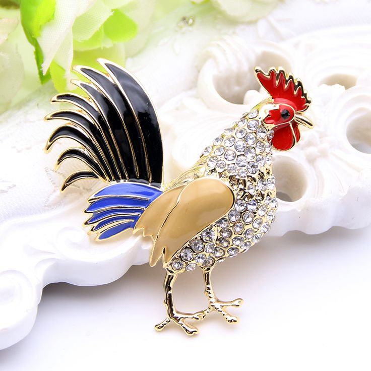 Lucky Zodiac Animal Rooster Brooch Pin For Women Rhinestone Enamel Animal Brooches Broches Crystal Cock Jewelry Pins Cute Gift