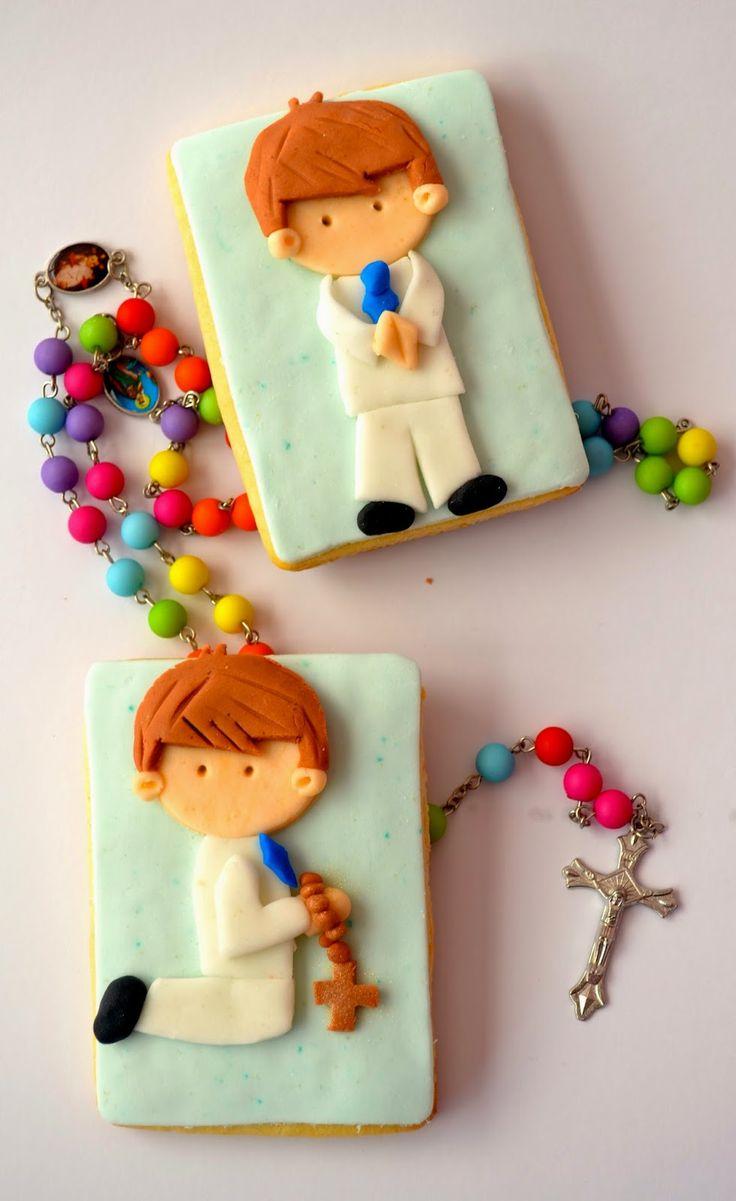 First Communion cookies, Baptism, Religious, fondant