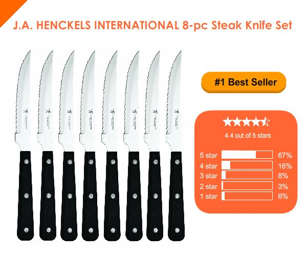 J.A. HENCKELS INTERNATIONAL 8 Piece Steak Knife Set reviews http://www.bestkitchenkniveslist.com/kitchen-knives-reviews