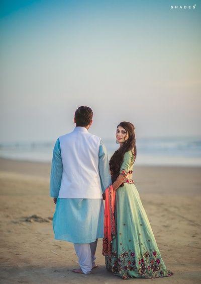 Pre Wedding Shoot - Groom in a Blue Sherwani and the Bride in a Aqua Lehenga | WedMeGood #wedmegood #indianbride #indianwedding #prewedding #preweddingideas #preweddingshoot #preweddingideas