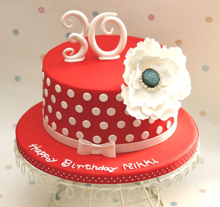 Red and white polka dots - Cake by Cakes by Christine