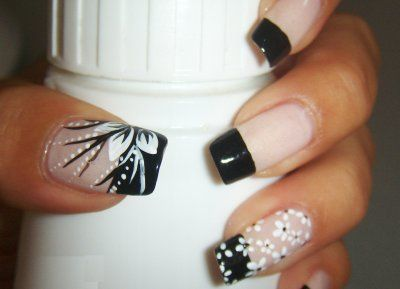 black and white floral nail art