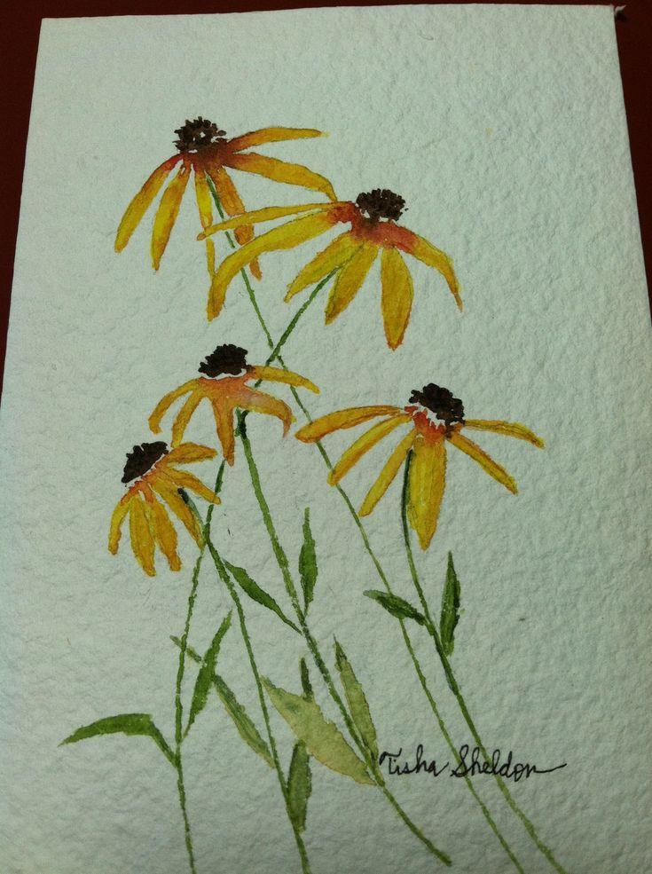 Watercolor by Tisha Sheldon, Coneflowers