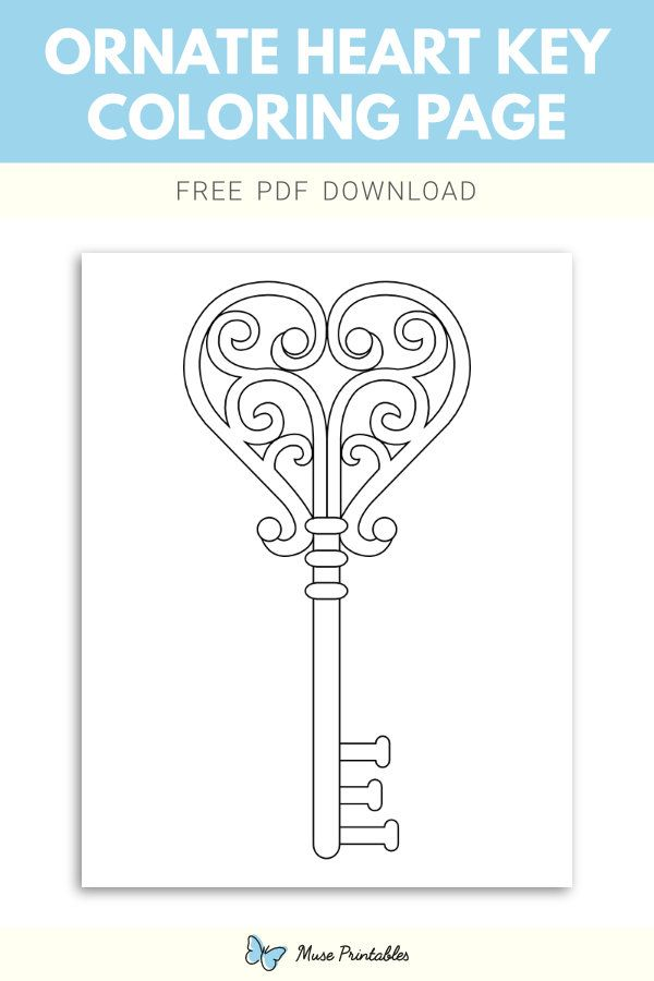 Free Printable Ornate Heart Key Coloring Page Download It At