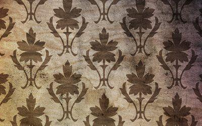 текстуры, винтаж, обои, листья, пятна, точки, старение, орнамент, стена, фон, vintage wallpaper