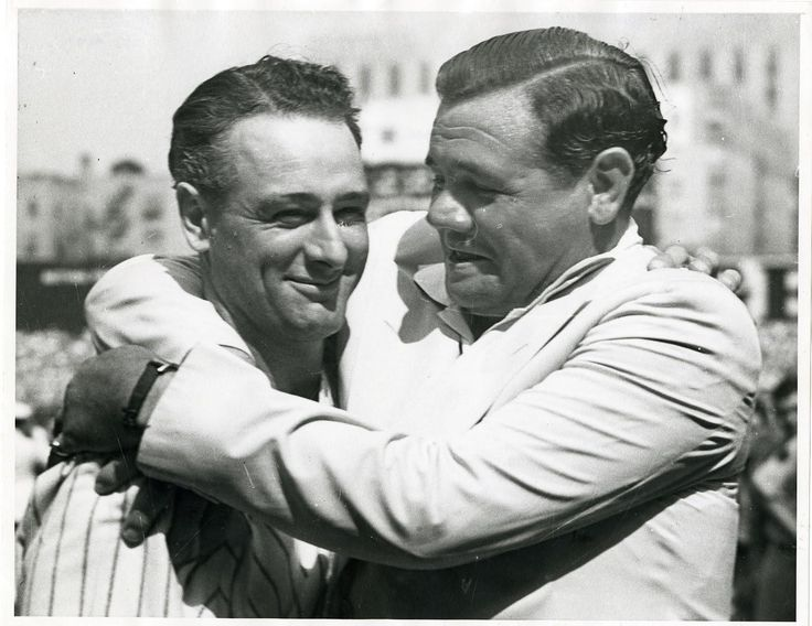 Babe Ruth gives Lou Gehrig a hug after 5 years without talking to one another [1939]. The Babe would become Lous closest friend up to his death 2 years later. http://ift.tt/2gcUNDC