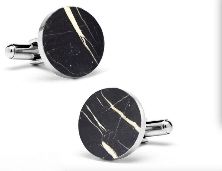 MIKOL Bing Collection round Nero Marquina marble cuff links are made with 100% natural marble stone. It is the perfect gift for him! As the material is natural marble, no two cufflinks will ever be the same. Marble's elegance will only bring out the beauty of your outfit.