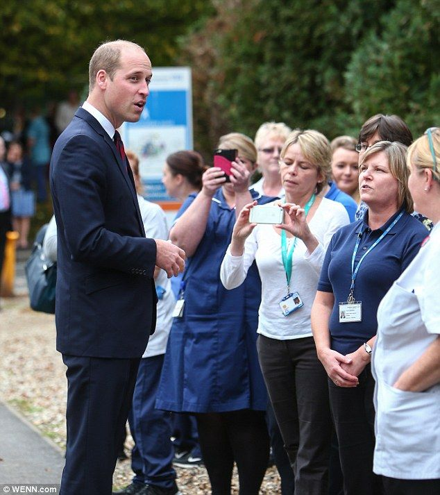 William receives a warm welcome from excited nursing staff who were waiting outside the hospital to greet him