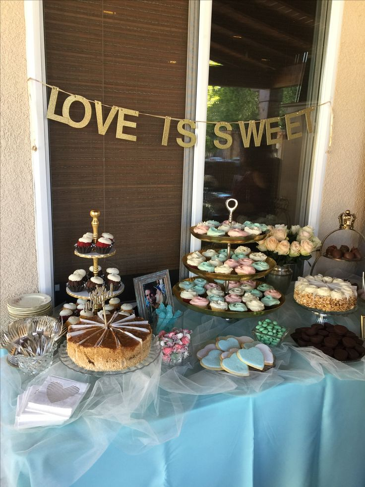 Love is Sweet dessert table at engagement party