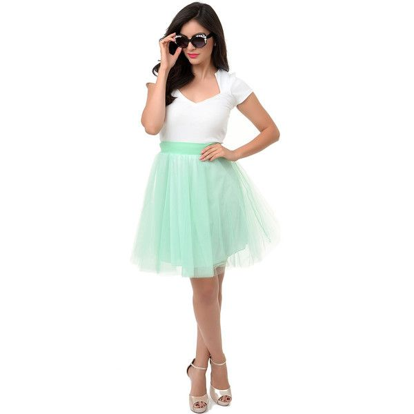Mint High Waisted Tulle Tutu Flare Skirt ($46) ❤ liked on Polyvore featuring skirts, green, knee length flared skirts, green tutu skirt, green tutu, green skater skirt and knee length tulle skirt